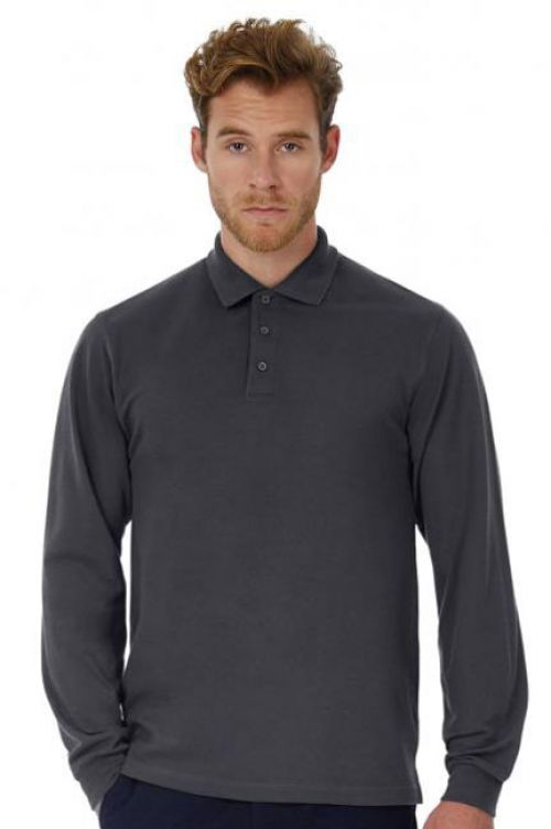 B&C Fein-Piqué Poloshirt mit Langarm