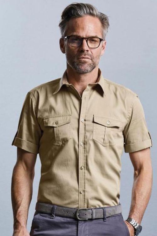 Hemd mit krempelbaren kurzen Ärmeln